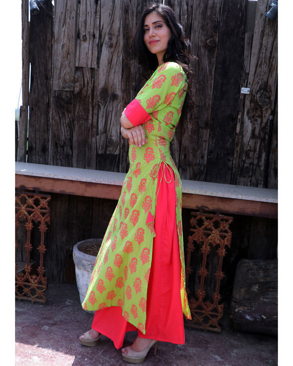 Basil and coral double layered dress 2