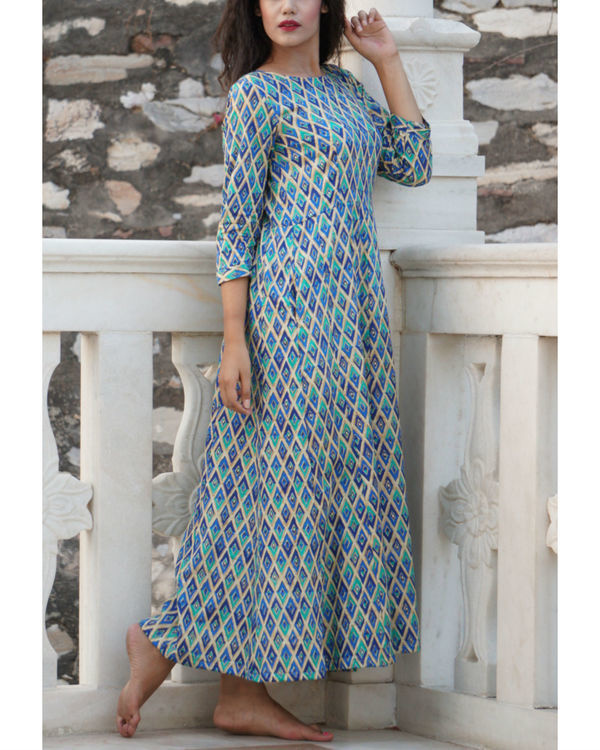 Blue checkered maxi 1