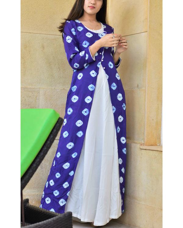 Blue bandhej layered dress 1
