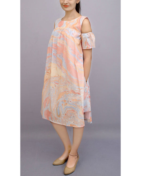 Marble dye cold shoulder dress 1