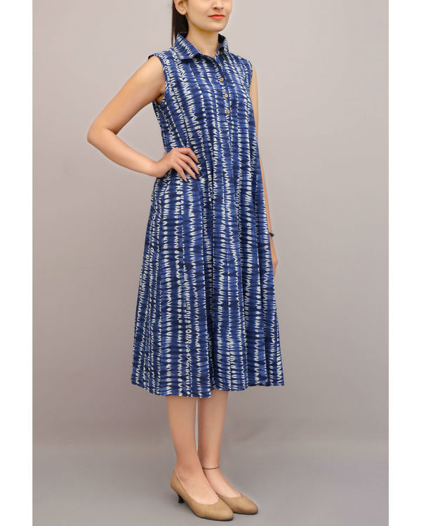 Shibori shirt collar dress 1