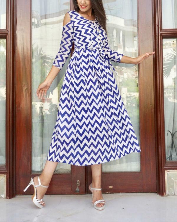 Chevron cold shoulder dress 1