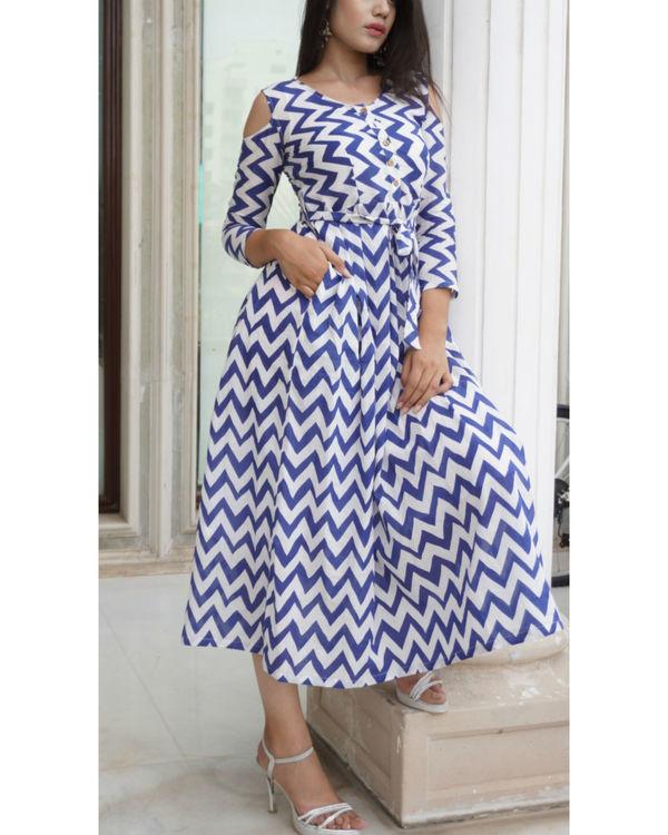Chevron cold shoulder dress 2