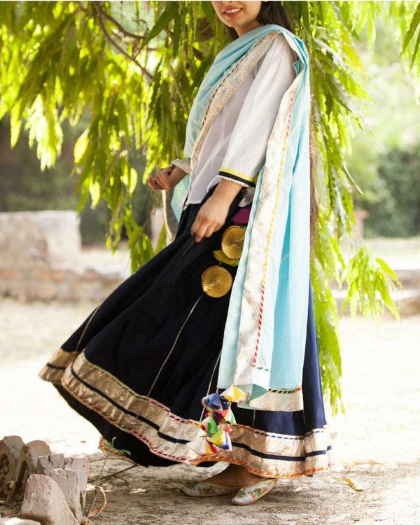 Navy and white lehenga set 2