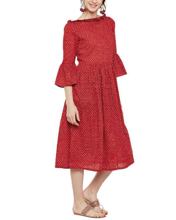 Cherry red midi dress 2
