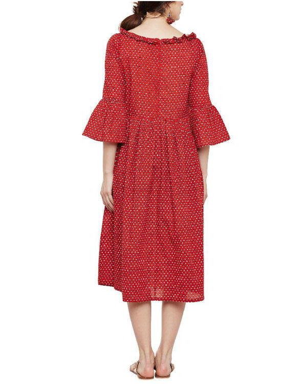 Cherry red midi dress 3
