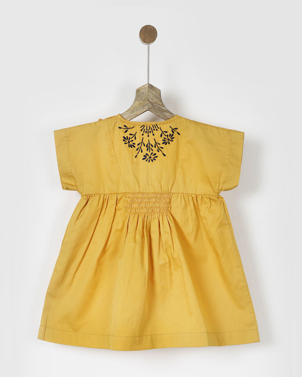 Embroidered yellow smocked dress 1