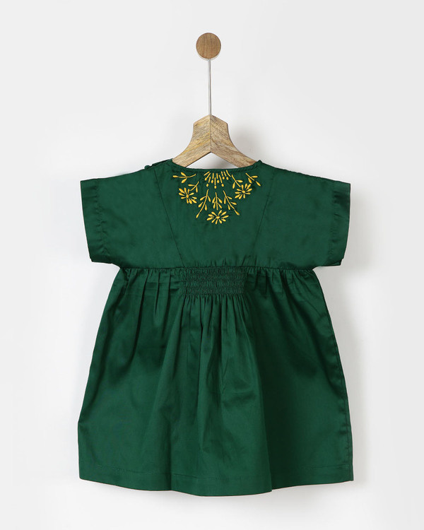 Embroidered green smocked dress 1