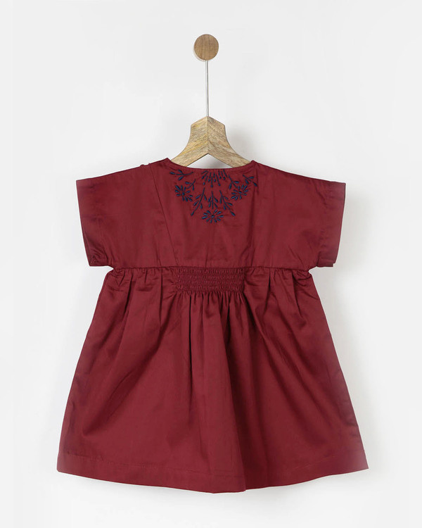 Embroidered maroon smocked dress 1