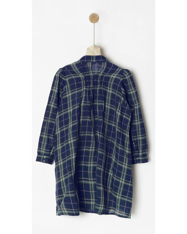 Navy & green checkered dress 1