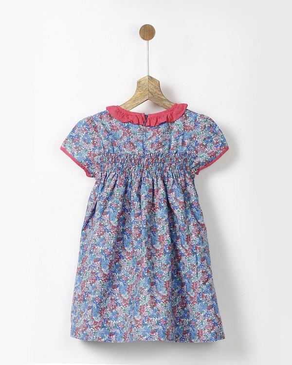 Blue floral print vintage smock dress 1