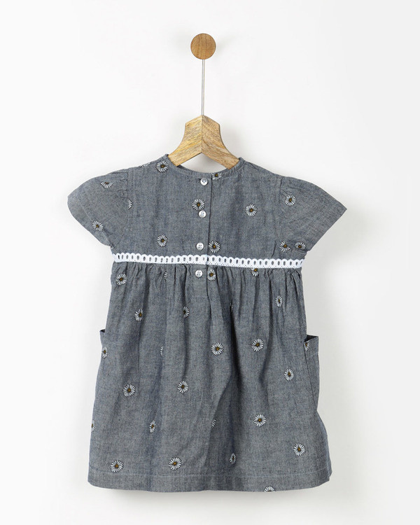 Grey chambray sunflower print dress 1