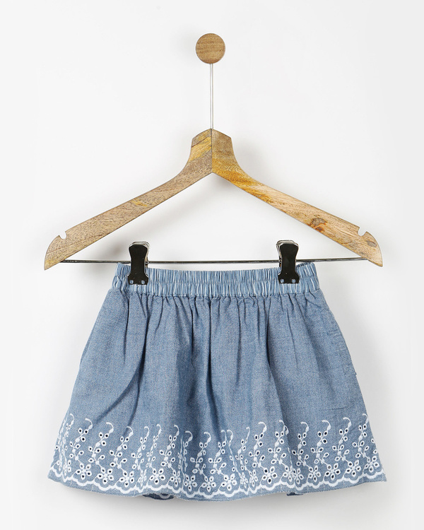 Blue embroidered gathered skirt 2