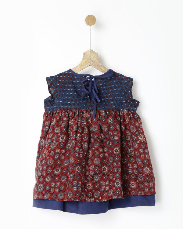 Maroon & navy back tie ajrakh handprint dress 1