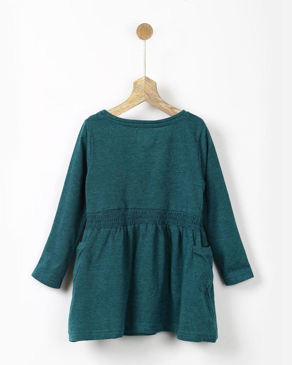 Teal green smocked t-shirt dress 1