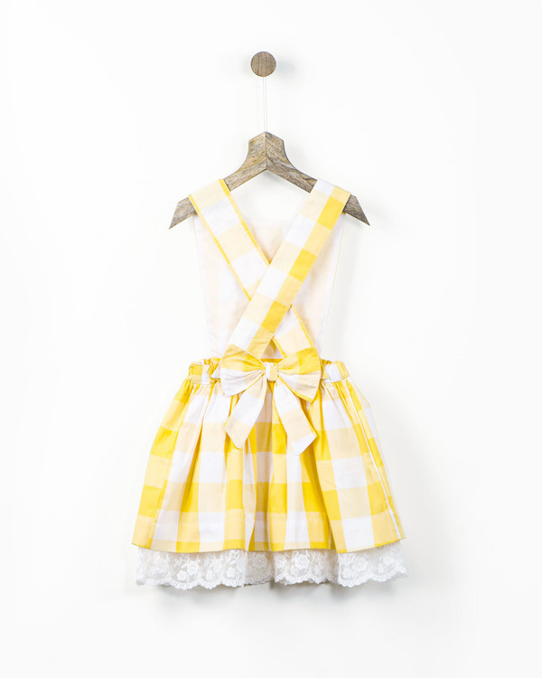 Yellow gingham checks pinafore with lace hem 1