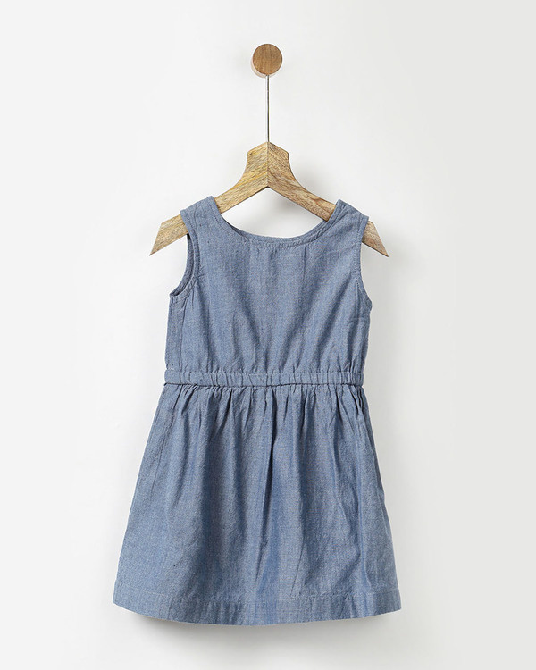 Chambray dress with lace hem pleated crop top in cotton 1