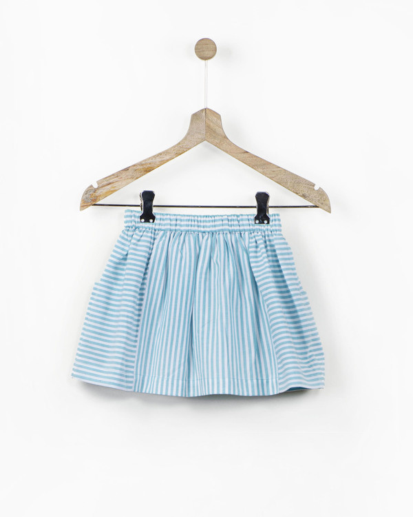 Mint striped skirt with fabric brooch 1