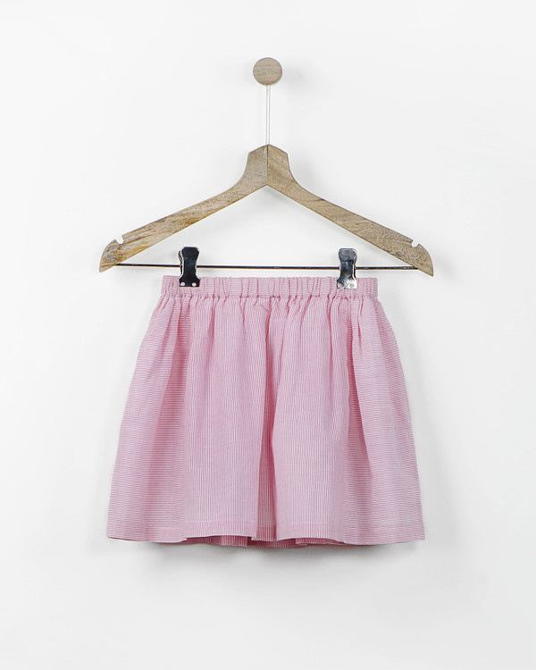 Pink and white pinstriped skirt with fabric brooch 1