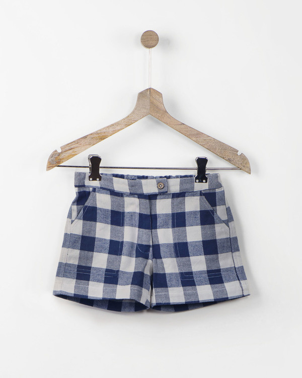 Blue gingham check shorts 1