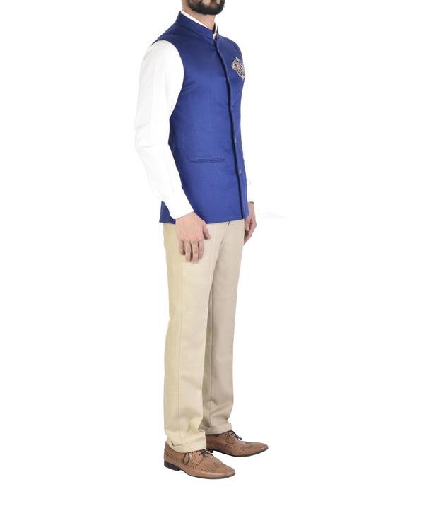 Sleeveless royal blue waistcoat 1