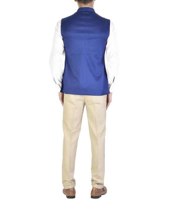Sleeveless royal blue waistcoat 2