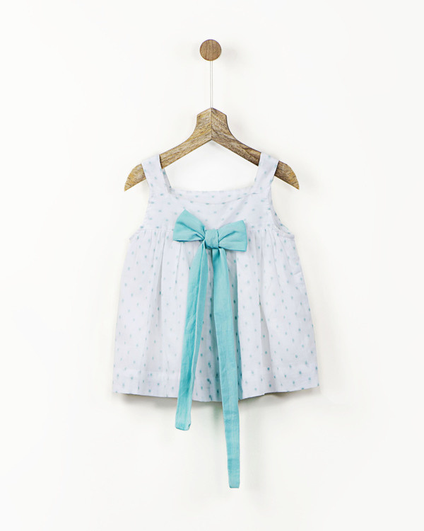 White and mint cotton dress 1