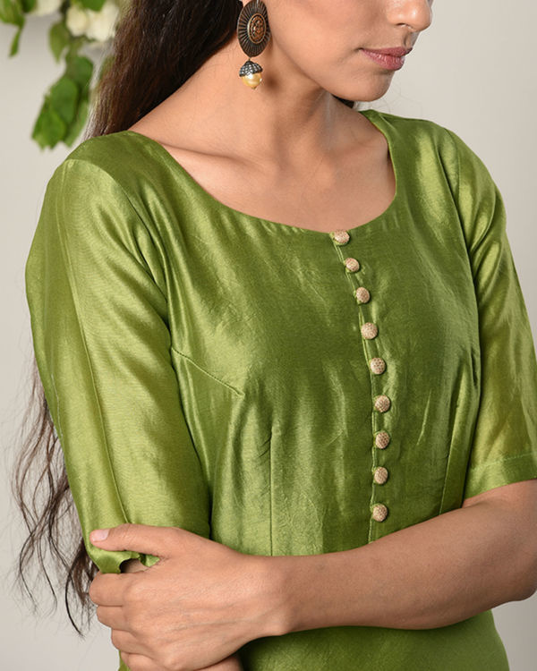 Green gold button dress 2