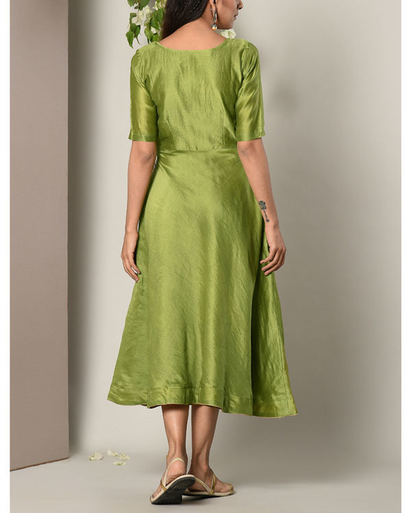 Green gold button dress 3