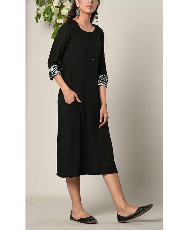 Black printed cuff dress 1