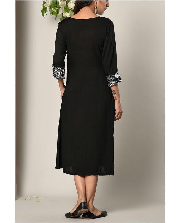 Black printed cuff dress 2