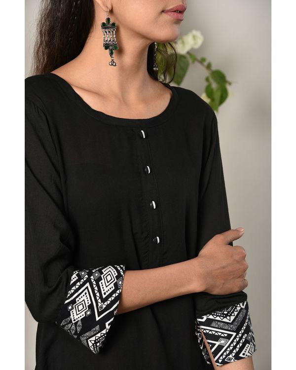 Black printed cuff dress 3