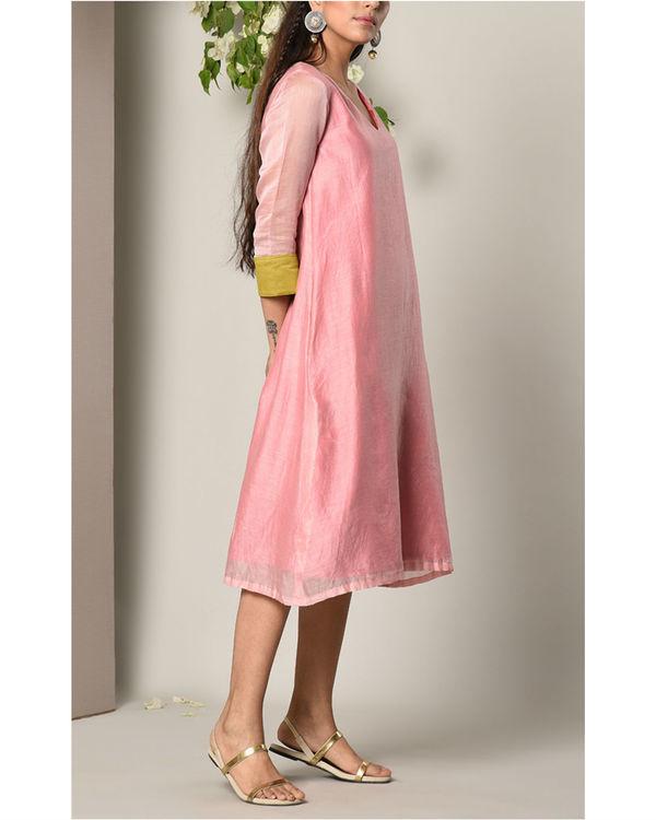 Mud pink green cuff dress 1