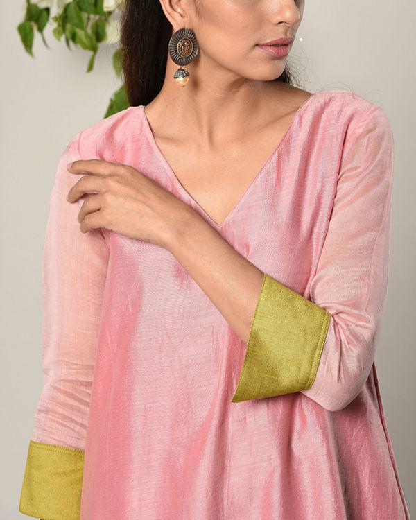 Mud pink green cuff dress 2