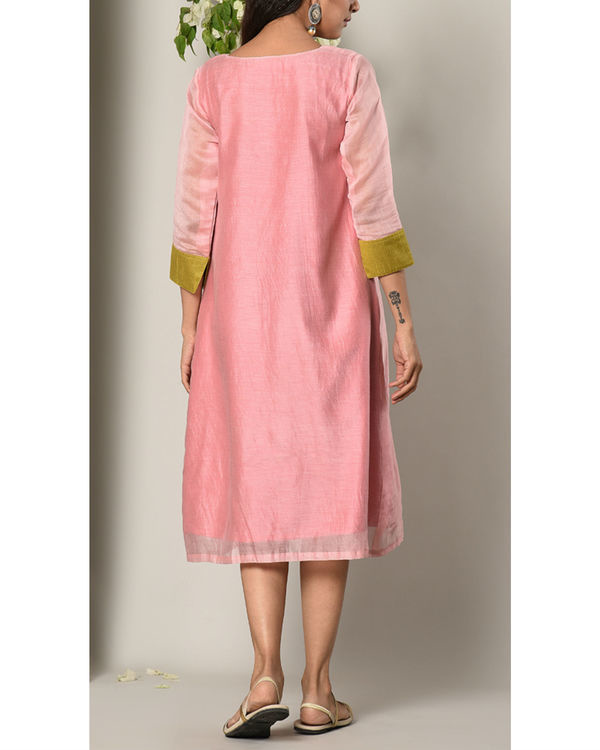 Mud pink green cuff dress 3