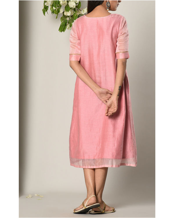 Mud pink jute center panel dress 3