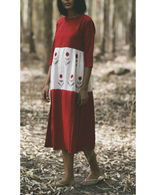 Red mogra embroidered swing dress 1
