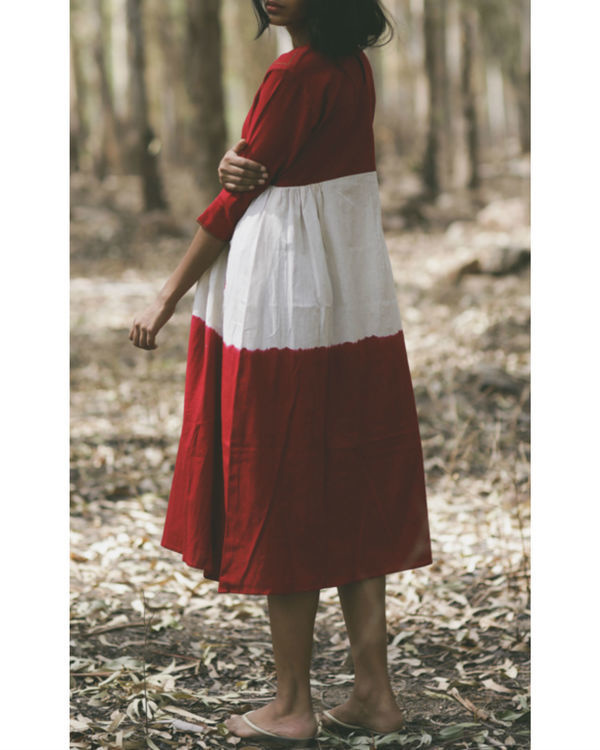 Red mogra embroidered swing dress 3