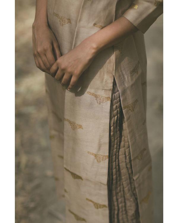Ecru Bird Printed Swing Skirt Set 3