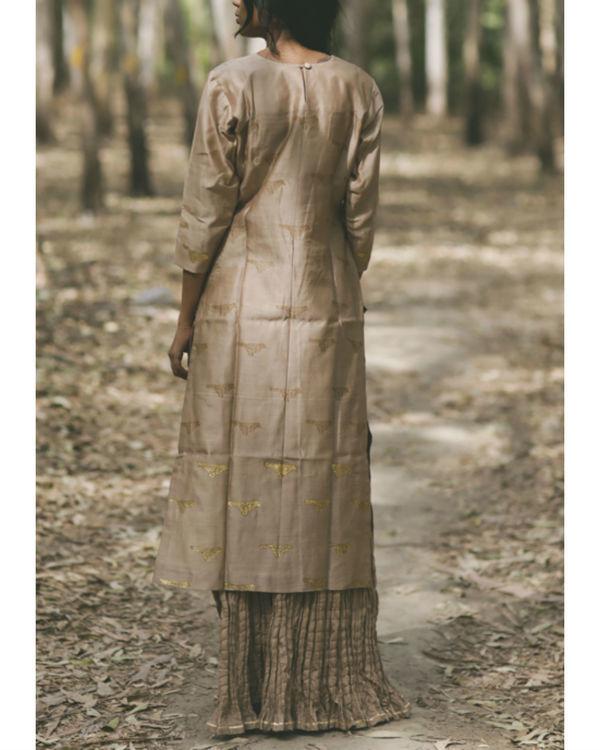 Ecru Bird Printed Swing Skirt Set 4