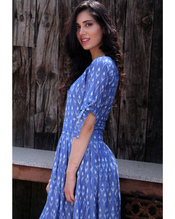 Steel blue knot sleeve dress 1