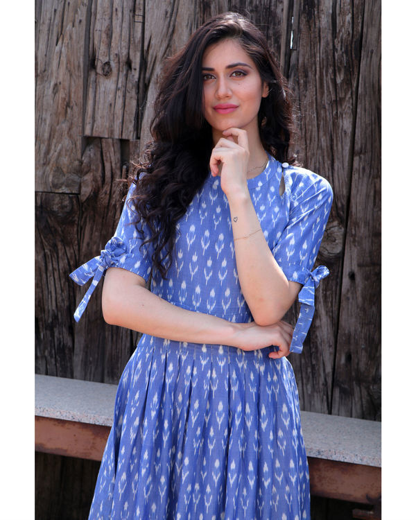 Steel blue knot sleeve dress 2