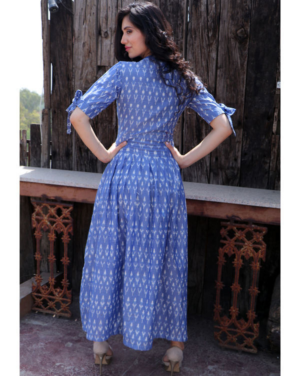 Steel blue knot sleeve dress 3