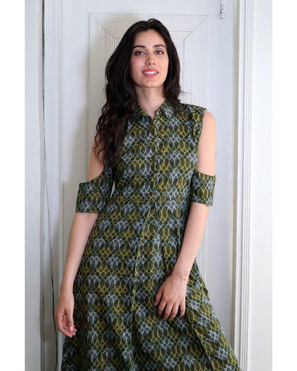 Seaweed green cold shoulder dress 1
