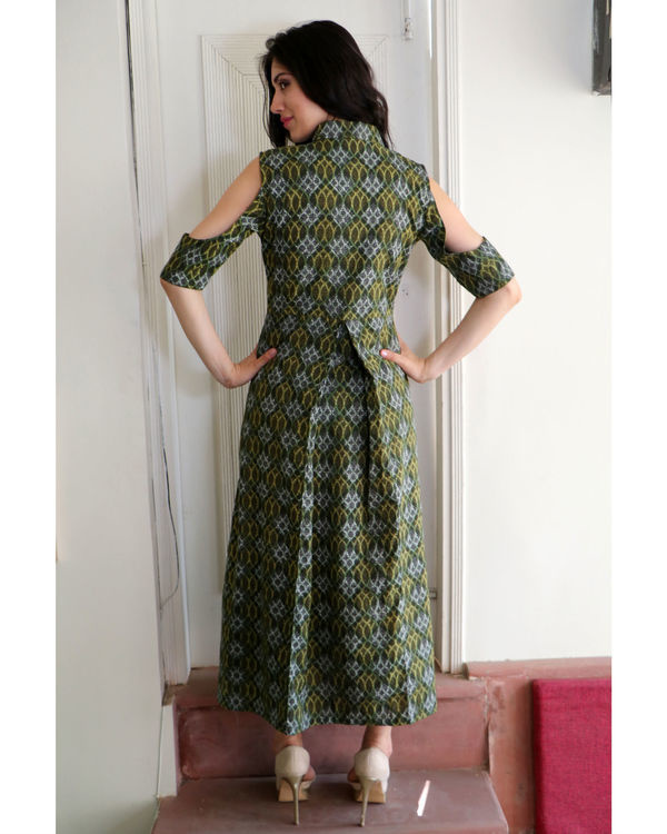Seaweed green cold shoulder dress 2