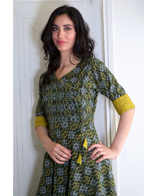 Seaweed green angrakha dress 1