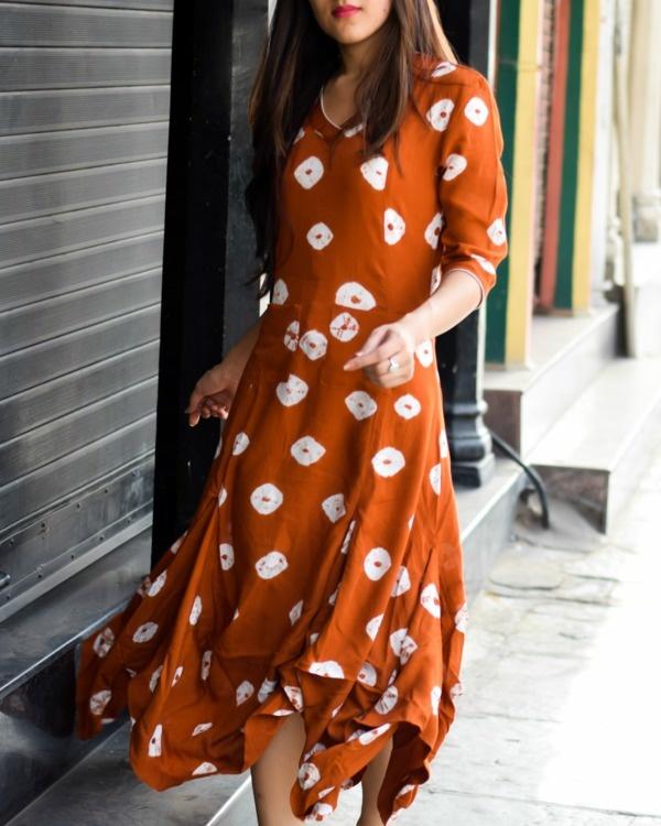 Bandhej cowl dress 1