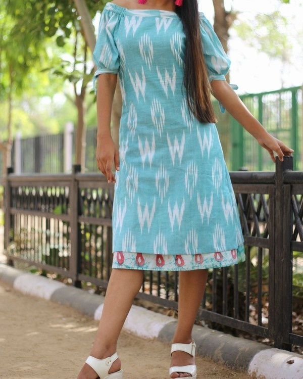 Aqua blue off shoulder dress 2