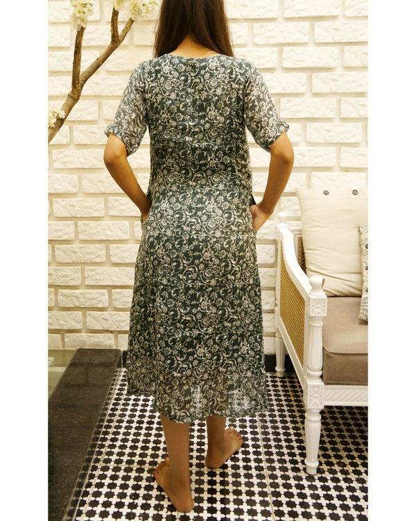 Linen seagreen printed dress 1