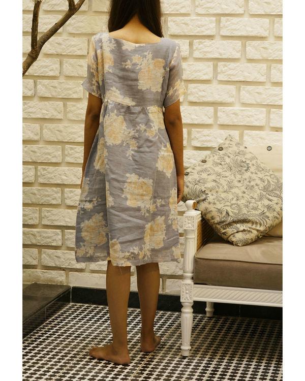 Grey floral linen dress 1